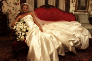 Bride on couch at Tara